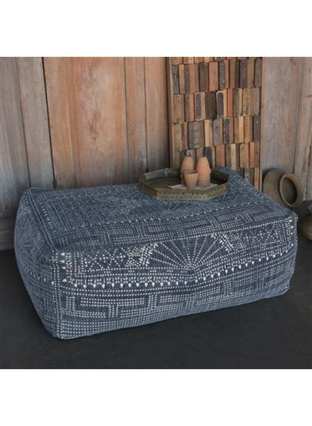 HomArt Indigo Batik Pouf, Rectangle  Indigo Batik
