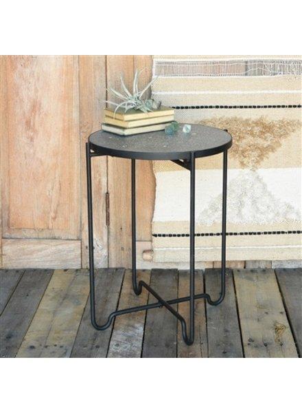 HomArt Terrazzo Iron & Terrazzo Side Table  Black Terrazzo