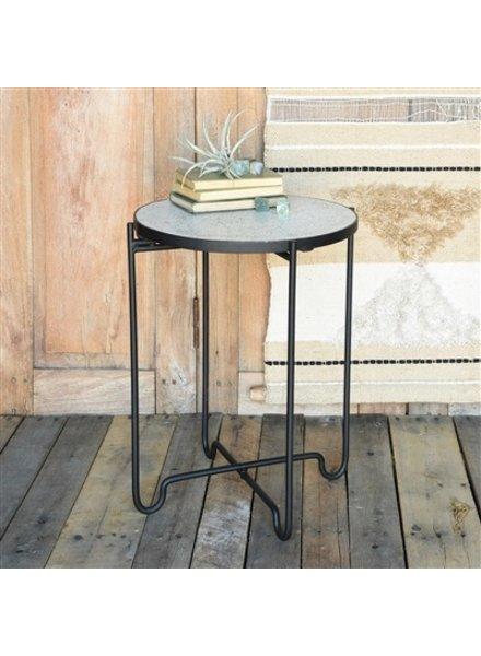 HomArt Terrazzo Iron & Terrazzo Side Table  White Terrazzo