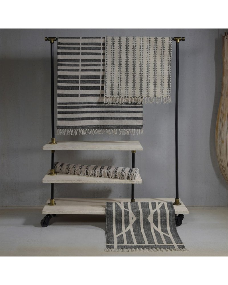 HomArt Block Print Rug Cotton Runner, 2.5x8  Broken Stripe