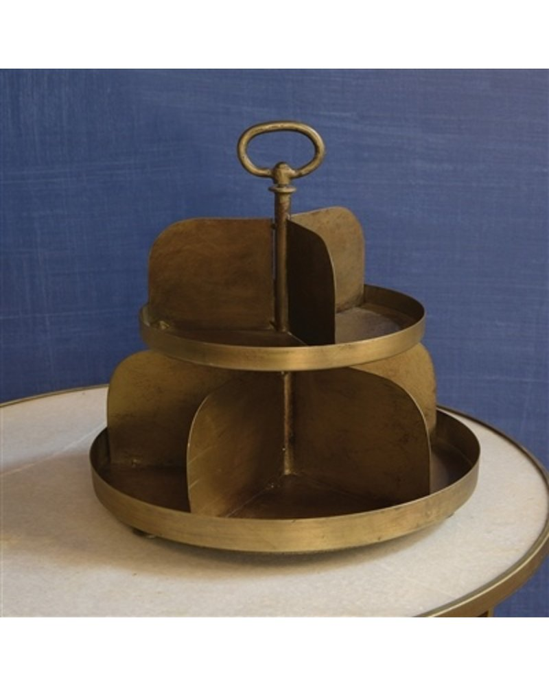 HomArt Merchant 2-Tier Twirling Divided Stand  Antique Brass