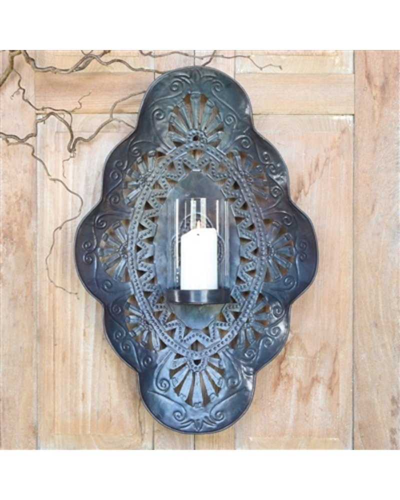 HomArt Sala Iron Wall Sconce with Glass Hurricane Large