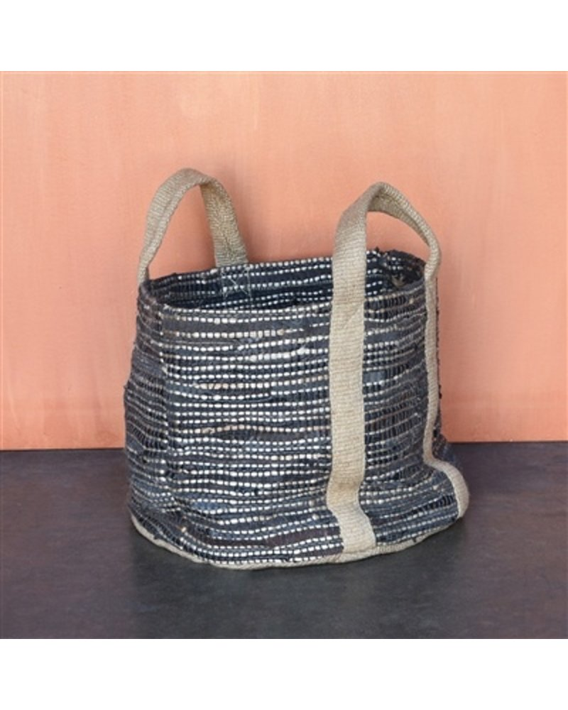 HomArt Woven Storage Leather & Hemp Basket