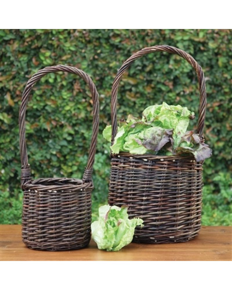 HomArt Willow Tall Handled Baskets - Set of 2 - Natural