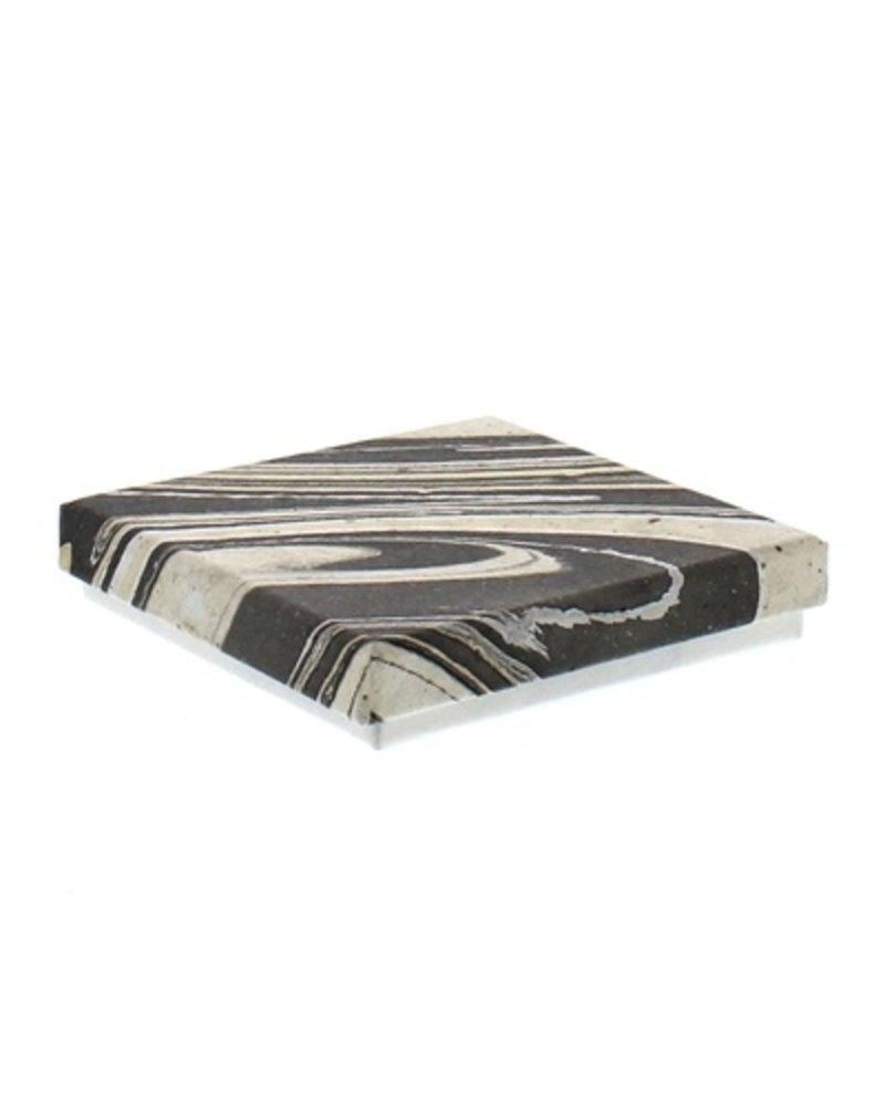 HomArt Marbleized Leather Coasters - Set of 6  Grey