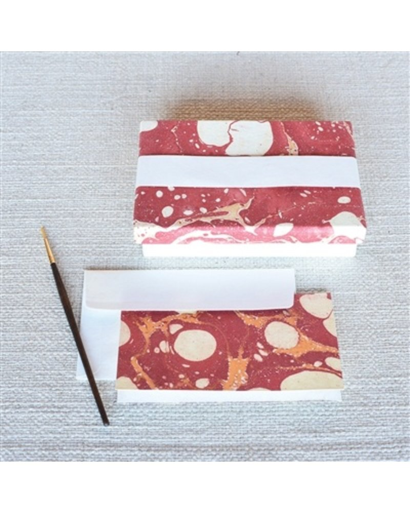 HomArt Marbleized Note Card and Envelope - Set of 10  Red