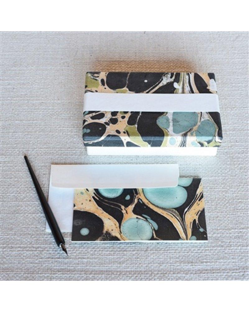 HomArt Marbleized Note Card and Envelope - Set of 10  Aqua