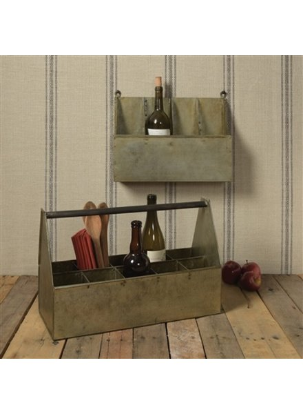 HomArt Fallbrook Wall Mounted Bottle Holder - 4 Bottles  Light Rust Galvanized