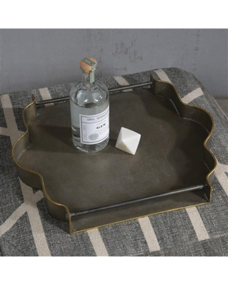 HomArt York Galvanized Tray - Square  Galvanized with Gold Rim