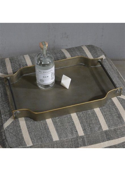 HomArt York Galvanized Tray - Rectangle  Galvanized with Gold Rim