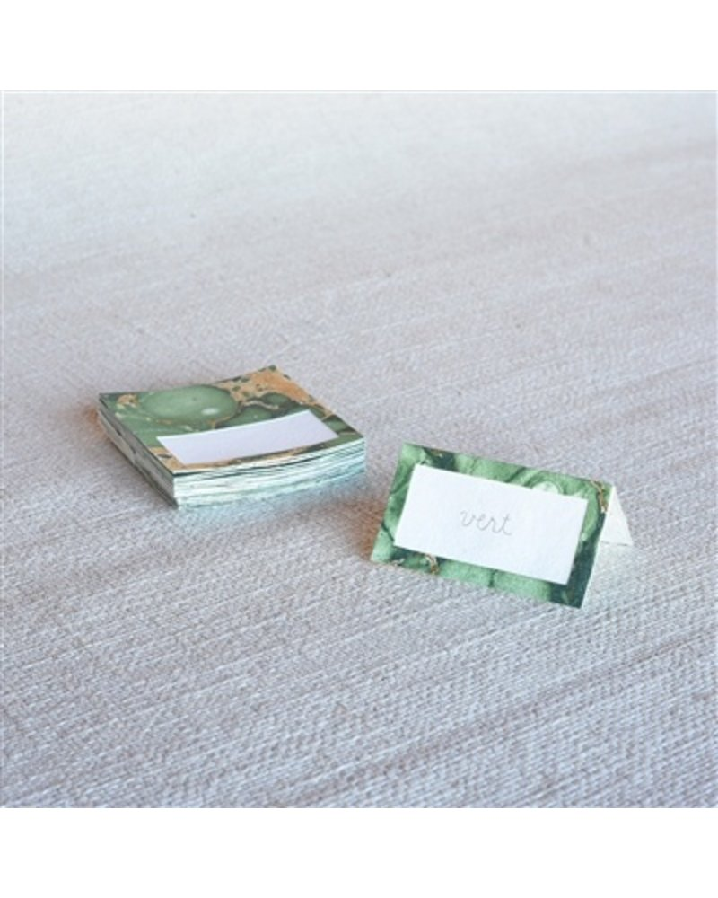 HomArt Marbleized Table Tent Place Cards - Box of 16  Green