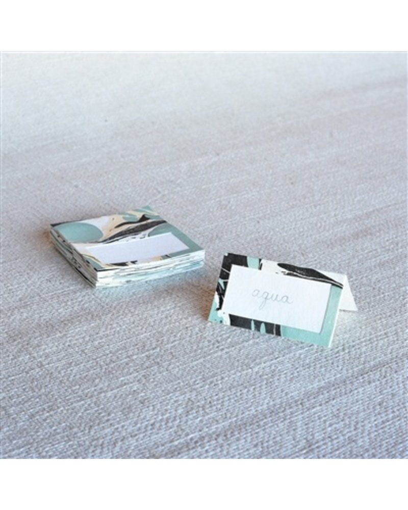 HomArt Marbleized Table Tent Place Cards - Box of 16  Aqua
