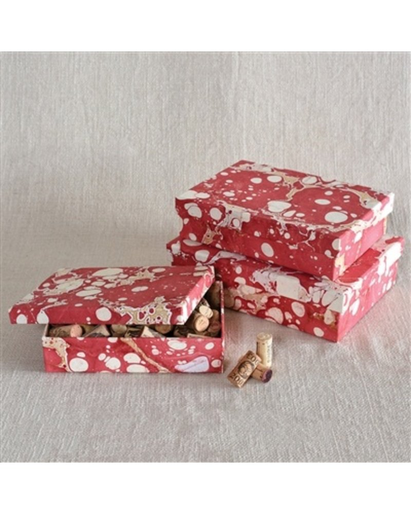 HomArt Marbleized Paper Nesting Boxes - Set of 3 - Red