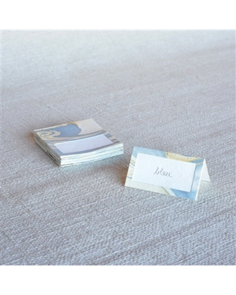 HomArt Marbleized Table Tent Place Cards - Box of 16  Blue - Set of 2 boxes
