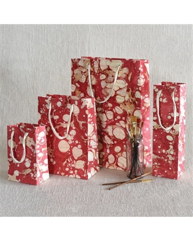 HomArt Marbleized Paper Gift Bag - Sm - Red