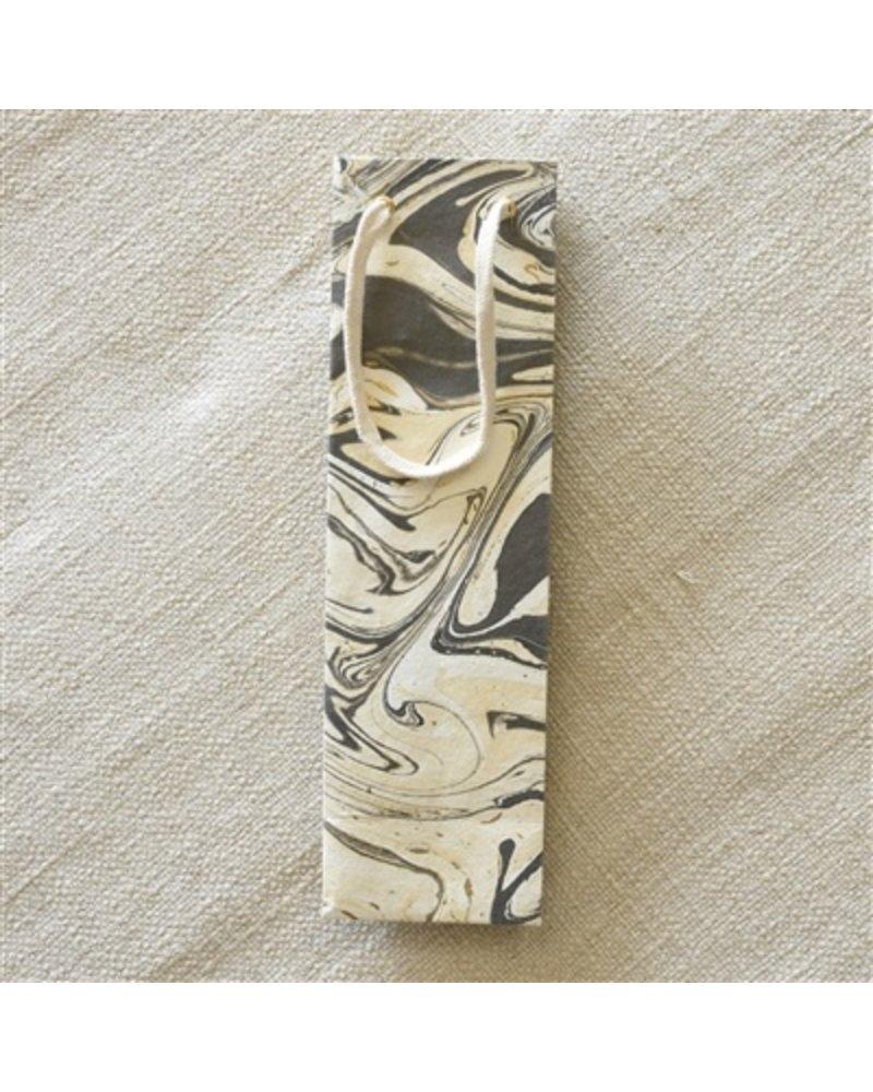 HomArt Grey Marbleized Paper Wine Bag