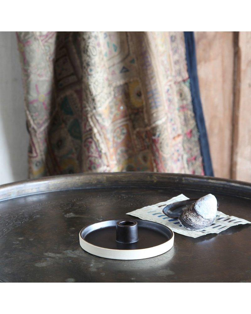 HomArt Tucker Ceramic Taper Holder - Matte Brown & Natural