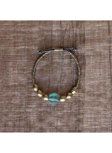 OraTen Seaglass Beaded Brass Bracelet - Aqua
