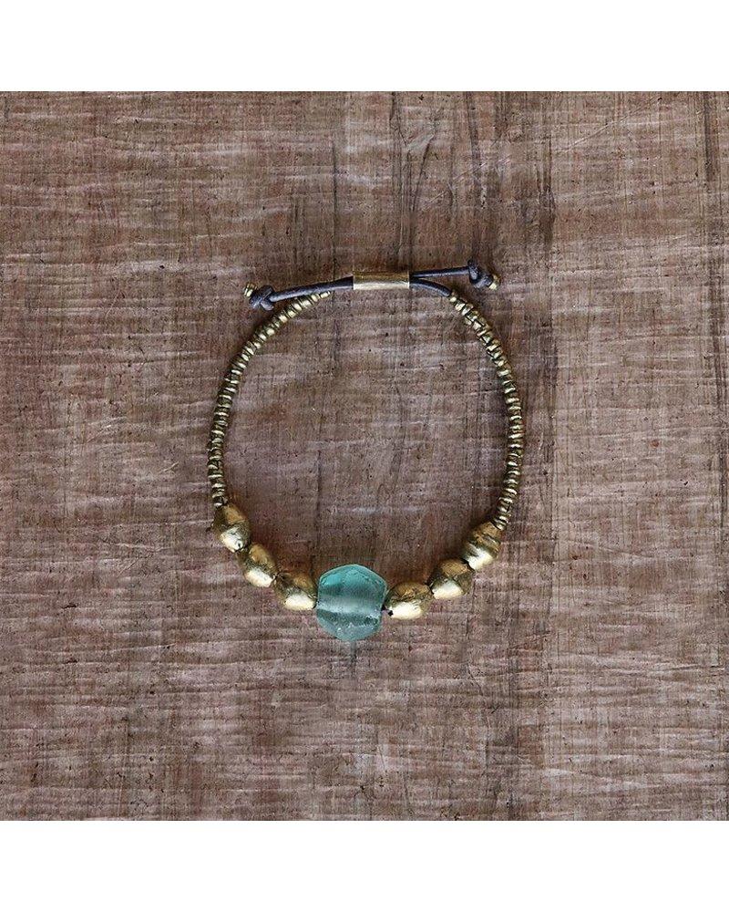 OraTen Seaglass Beaded Brass Bracelet-Aqua