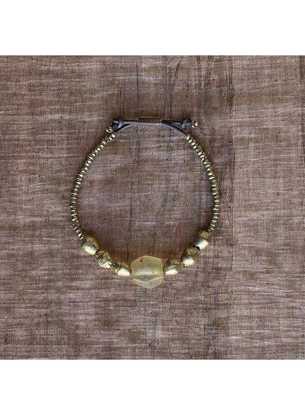 OraTen Seaglass Beaded Brass Bracelet - Amber
