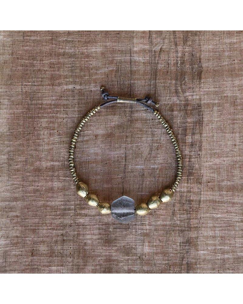 OraTen Seaglass Beaded Brass Bracelet-Grey