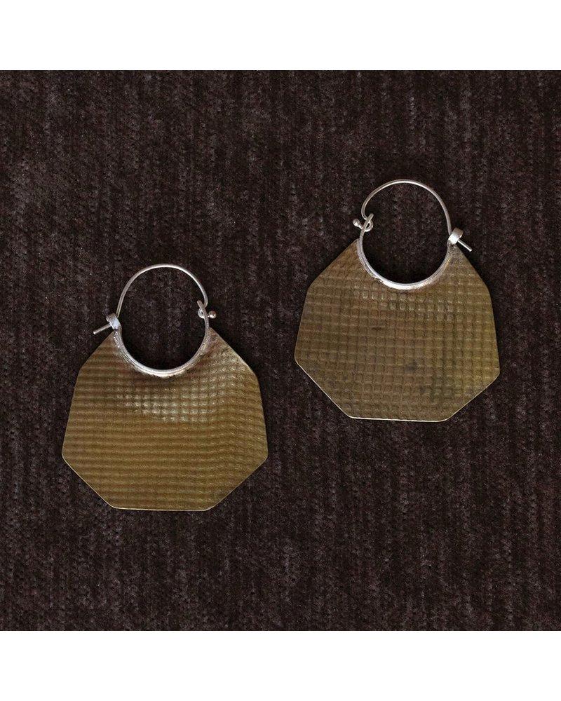 OraTen Brass Earrings, Octagon