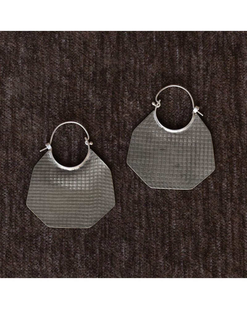 OraTen Silver Earrings, Octagon