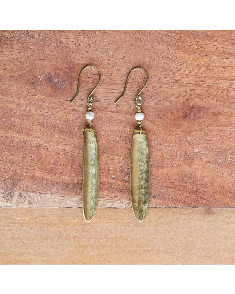 OraTen Kona Brass Earrings, Single - Howlite Stone