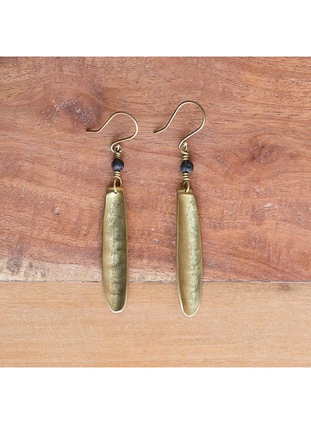 OraTen Kona Brass Earrings, Single - Lava