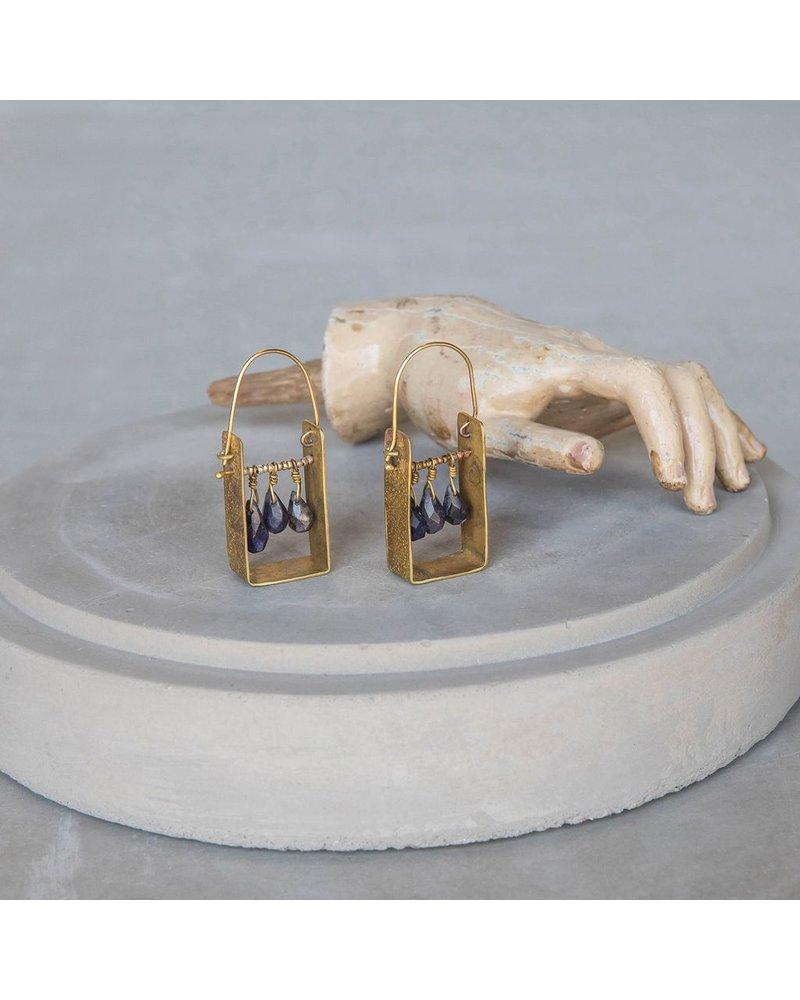 OraTen Boxed Gem Brass Earrings - Iolite