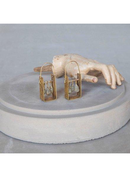 OraTen Boxed Gem Brass Earrings-Labadorite
