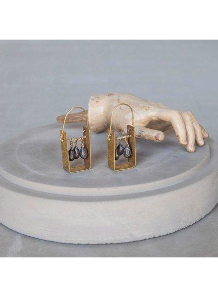 OraTen Boxed Gem Brass Earrings-Pyrite