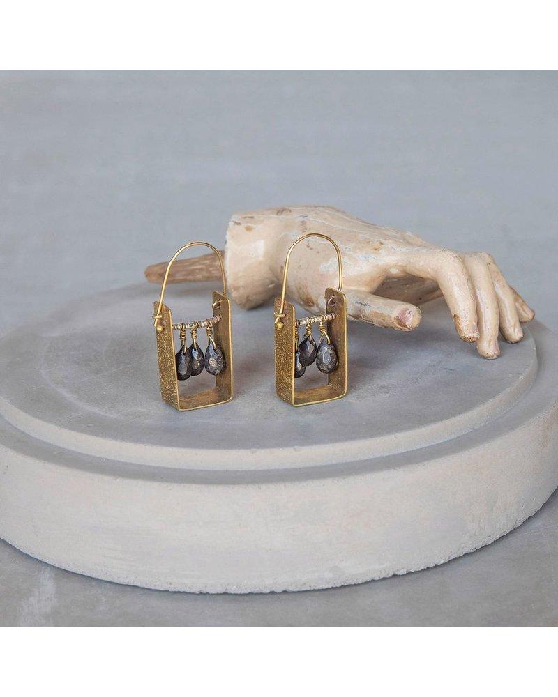 OraTen Boxed Gem Brass Earrings - Pyrite