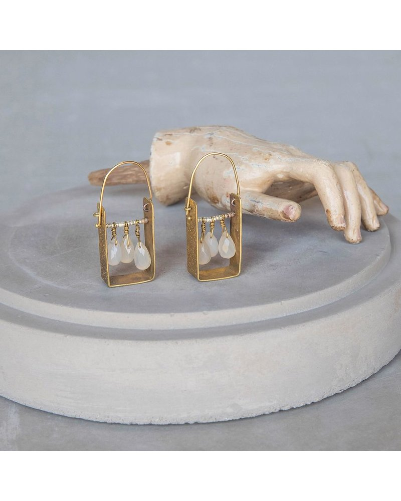 OraTen Boxed Gem Brass Earrings-White Onyx