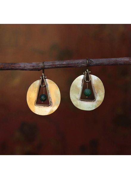 OraTen Unity Circle Brass Earrings - African Jade