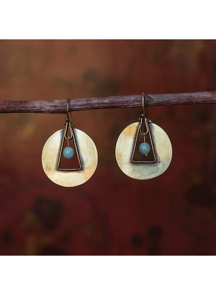 OraTen Unity Circle Brass Earrings - Amazonite