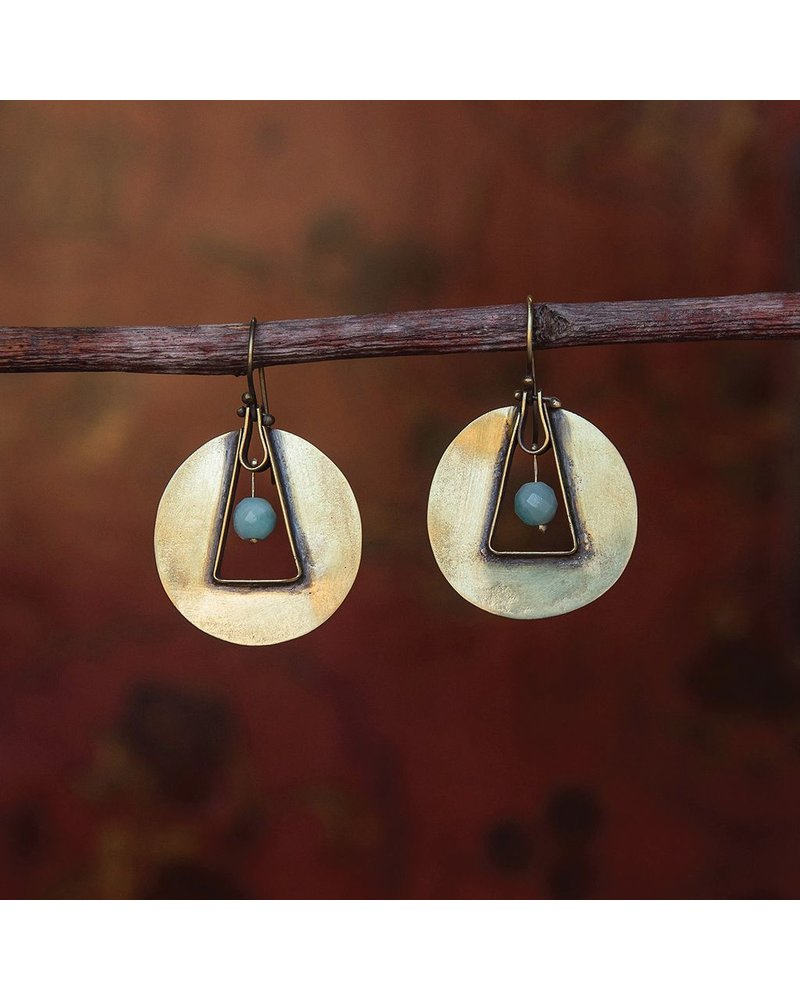 OraTen Unity Circle Brass Earrings-Amazonite