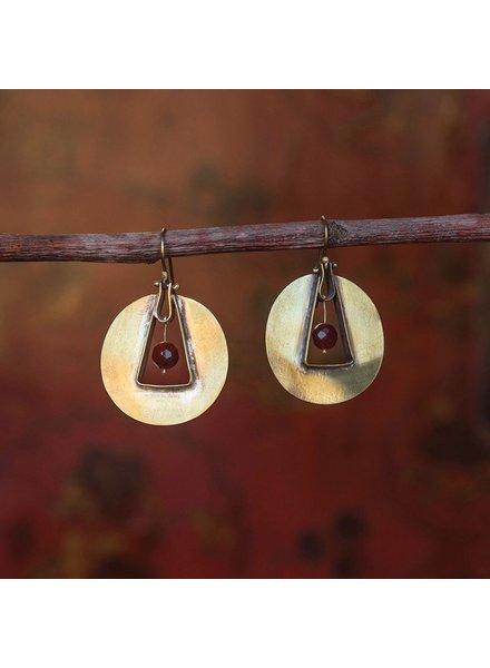 OraTen Unity Circle Brass Earrings-Carnelian