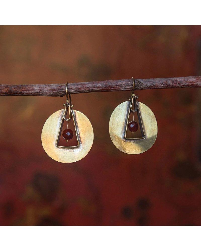 OraTen Unity Circle Brass Earrings - Carnelian