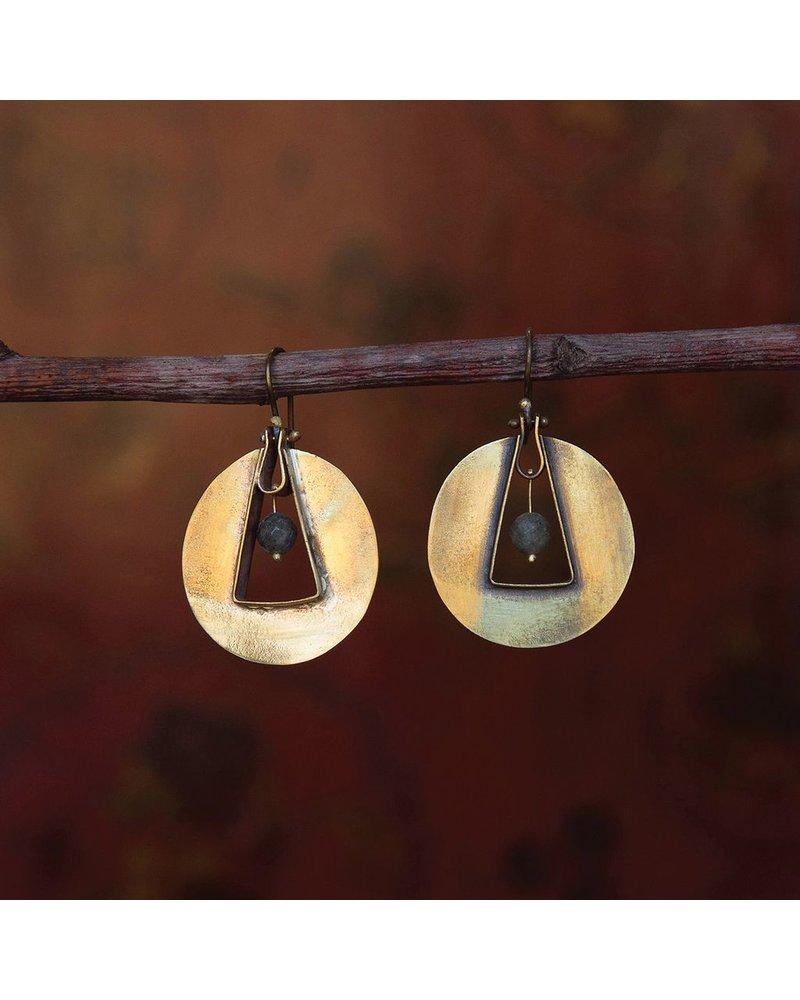 OraTen Unity Circle Brass Earrings-Labadorite