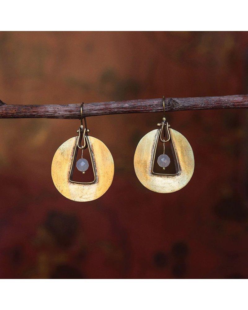 OraTen Unity Circle Brass Earrings - White Onyx