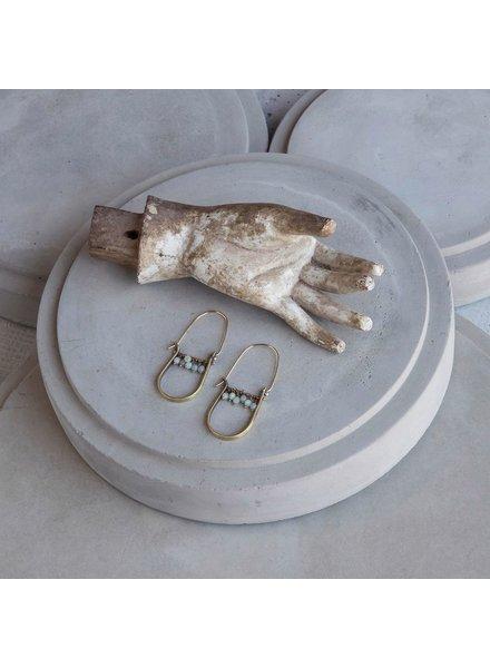 OraTen Brass Drop Earrings-Amazonite