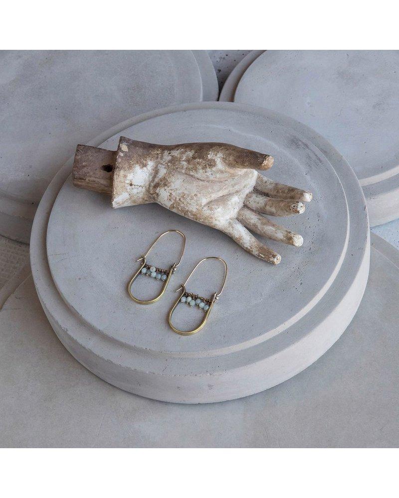 OraTen Brass Drop Earrings - Amazonite