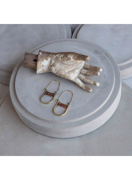 OraTen Brass Drop Earrings-Carnelian