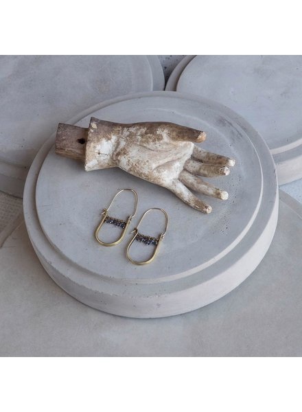 OraTen Brass Drop Earrings-Iolite