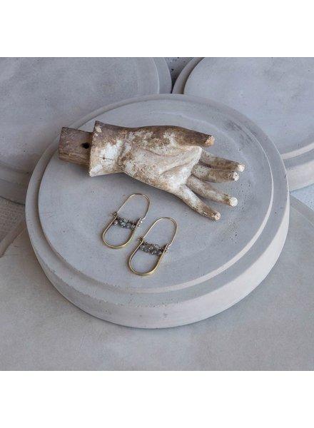 OraTen Brass Drop Earrings-Labadorite