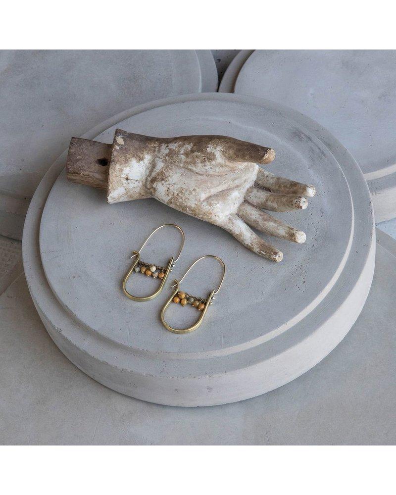 OraTen Brass Drop Earrings-Yellow Moss Agate