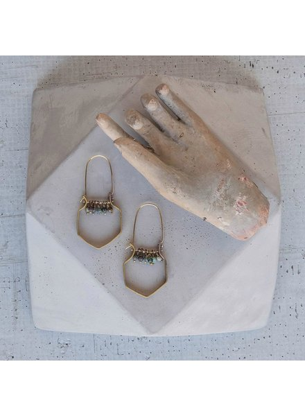OraTen Hexagon Brass Dangling Gem Earrings-African Turquoise