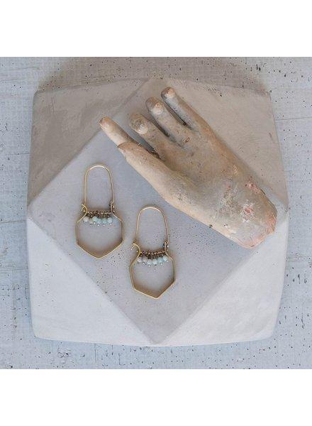 OraTen Hexagon Brass Dangling Gem Earrings - Amazonite
