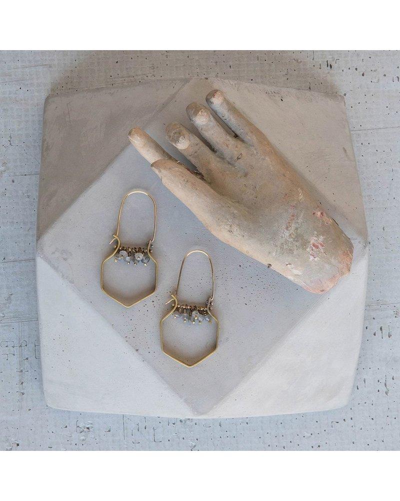 OraTen Hexagon Brass Dangling Gem Earrings-Labadorite